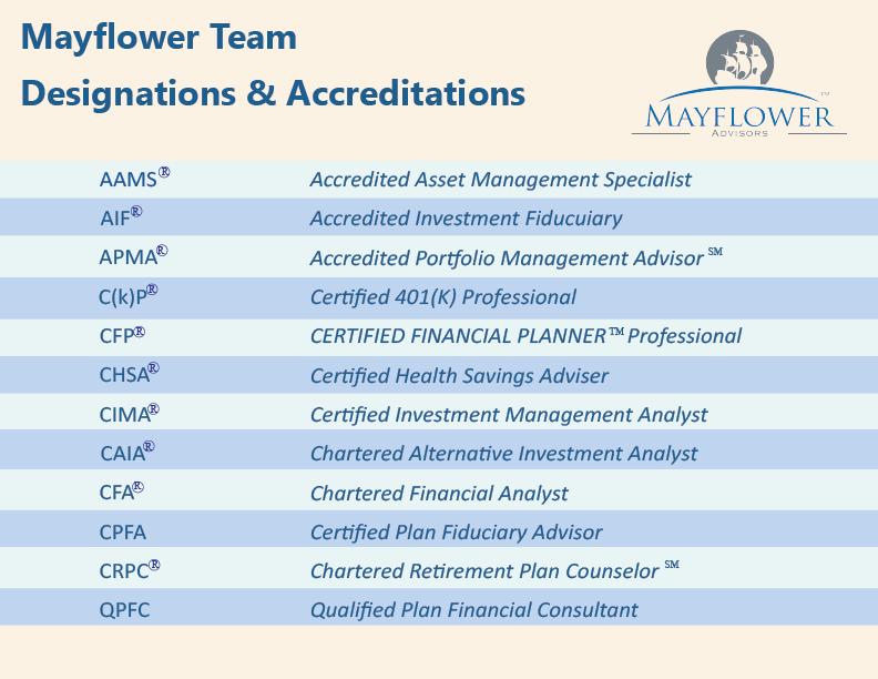 Mayflower Team Designations and Accreditations